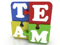 Puzzle pieces with inscription team Stock Image