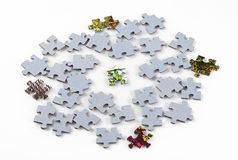 Puzzle pieces isolated on white background Stock Photo