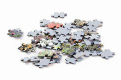 Puzzle pieces isolated on white background Stock Photos