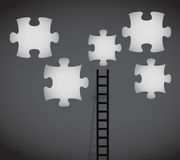 Puzzle pieces and ladder illustration design Stock Photos
