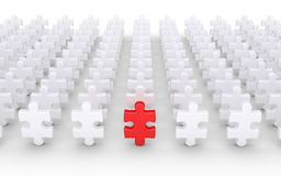 Puzzle pieces and leader. Many puzzle pieces in rows and one different is in front Stock Photography