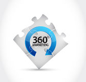 Puzzle pieces 360 marketing cycle illustration. Design over a white background Stock Images