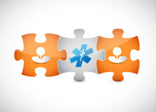 Puzzle pieces and medical symbol concept Stock Image