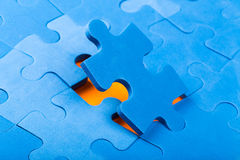 Puzzle pieces. Missing jigsaw, colorful puzzle pieces royalty free stock images