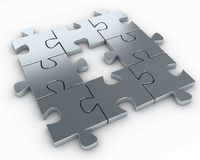 Puzzle pieces, with a missing piece in the middle Royalty Free Stock Photo
