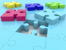 Puzzle pieces near hole on blue puzzle surface.3d illustration. Stock Photo
