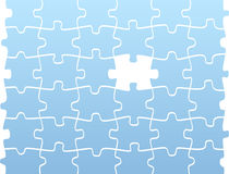 Puzzle pieces with one blank. Puzzle pieces in blue and only with one blank. It is a conceptual pattern Stock Photos