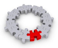 Puzzle pieces and one different. Connected puzzle pieces form a circle and one is of different color Stock Images