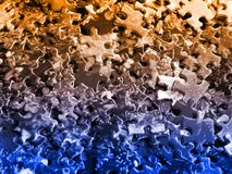 Puzzle pieces: orange-blue Stock Image