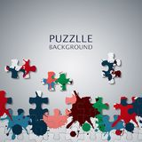 Puzzle pieces with paint stains. Illustration of Puzzle pieces with paint stains Stock Photography