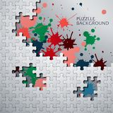 Puzzle pieces with paint stains. Illustration of Puzzle pieces with paint stains Royalty Free Stock Images