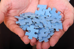 Puzzle pieces in palms Stock Image