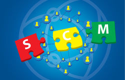 Puzzle pieces presentation of scm - Stock Images