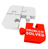 Puzzle Pieces - Problem Solved. Four puzzle pieces, with one red one and the words Problem Solved
