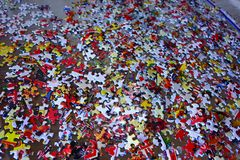 Puzzle pieces. Problem solving concept putting pieces of puzzle together Royalty Free Stock Photo