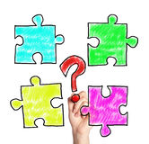 Puzzle pieces and question mark Royalty Free Stock Images
