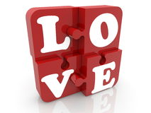 Puzzle pieces in red with inscription love Stock Photography