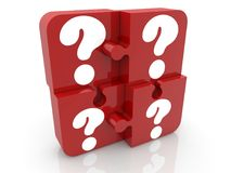 Puzzle pieces in red with question marks on white Royalty Free Stock Photo