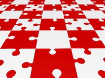 Puzzle pieces in red and white Stock Photography
