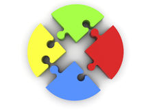 Puzzle pieces in red,yellow,blue and green colors on white. In backgrounds royalty free stock photo