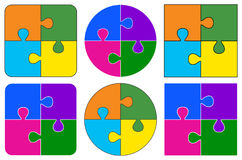 Puzzle pieces. Round and square type Puzzle pieces of more designs stock illustration