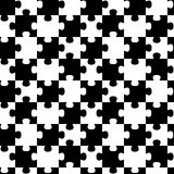 Jigsaw puzzle pieces seamless background pattern. Black and white puzzle pieces geometric pattern. Seamless Tile Royalty Free Stock Photography