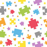 Puzzle Pieces Seamless Pattern. An abstract seamless pattern with colorful puzzle or jigsaw pieces on white background. Useful also as design element for texture Stock Photography