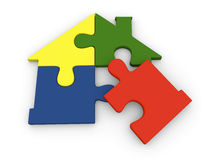Puzzle pieces in shape of house Royalty Free Stock Image