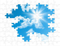 Puzzle pieces from the sky Stock Photography