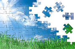 Puzzle pieces from the sky Royalty Free Stock Image