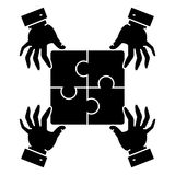 Puzzle pieces - strategy icon, vector illustration, black sign on isolated background Stock Image
