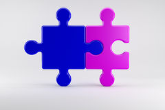 Puzzle pieces symbolize a marriage Couple. 3d illustration, Puzzle pieces symbolize a marriage Couple Stock Photos