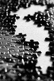 Puzzle Pieces on Table Surface Royalty Free Stock Images