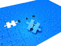 Puzzle pieces with text and blue piece. Puzzle pieces, the solution piece is missing Stock Image