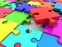 Puzzle pieces in various colors Stock Photo