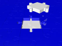 Puzzle pieces in white and blue colors Stock Images