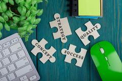 Puzzle pieces with words royalty free stock photo