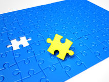 Puzzle pieces, the yellow  piece is missing. Puzzle pieces, the solution piece is missing Stock Image