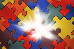 Puzzle plane - one piece missing Royalty Free Stock Photo