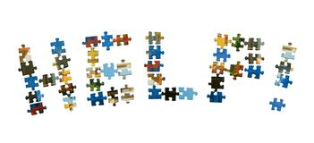 puzzle pomocy słowa Zdjęcia Royalty Free