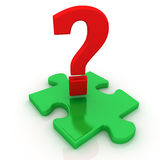 Puzzle and question mark. 3D render Royalty Free Stock Photography