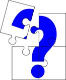 Puzzle question mark. Puzzle of four parts forming a question mark Royalty Free Stock Photography