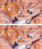 Puzzle quiz, find missing five woodworking tools. Easy level. A spot the missing puzzle where five tools has been removed in the second picture. Easy level Stock Images