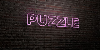 PUZZLE -Realistic Neon Sign on Brick Wall background - 3D rendered royalty free stock image Stock Photo