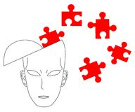 Puzzle red. Illustration of a thinking head with puzzle pieces around Royalty Free Stock Images