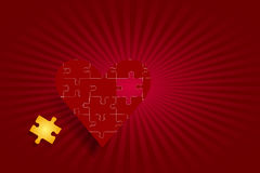 Puzzle red heart love concept Royalty Free Stock Photo