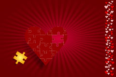 Puzzle red heart love concept. One red puzzle heart is in the middle of the vector. Gold puzzle piece is ready to fulfill the entire shape of the heart. Column Stock Photos