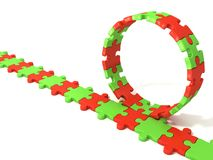 Puzzle ring rotating over puzzle chain Stock Image