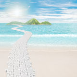 Puzzle road to island Royalty Free Stock Photo
