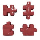 3 puzzle rossi lucidi di D Immagini Stock Libere da Diritti